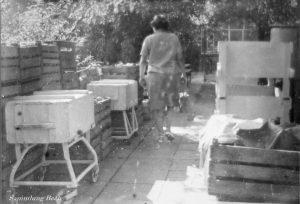 Starke Ernte 1967 dazwischen die Waschkästen