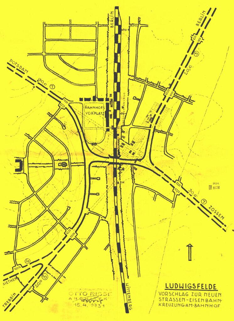 Vorschlag zur neuen Straßen- Eisenbahnkreuzung von 1931