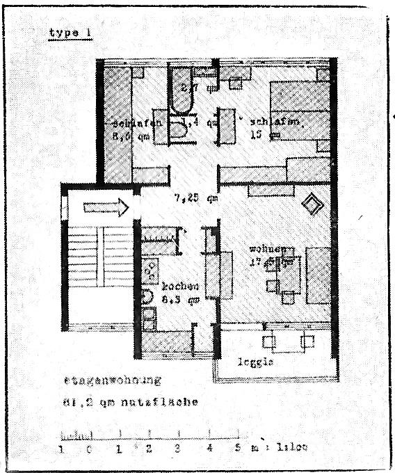 Grundriss einer Etagenwohnung
